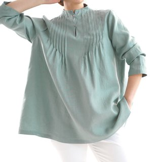 Linen / linen tunic / long sleeve / stand collar / pin-tuck / emelard / a81-21
