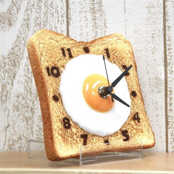 Egg toast clock / Imitation food table clock / made in Japan / RealGift /