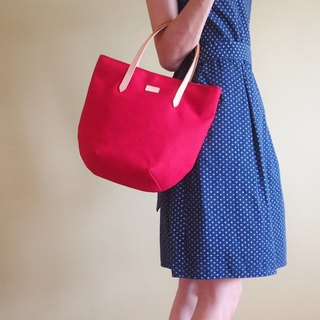 Red Petite Canvas Tote Bag with Leather Strap for her - Weekend Chic Casual Tote