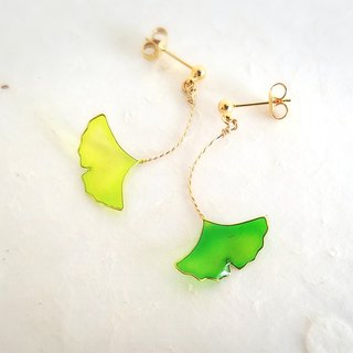 ginkgo leaf pierced or clip-on earrings<spring>