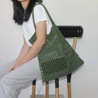 Green Net bag ,Market bag ,Green Crochet Tote bag ,Shopping bag
