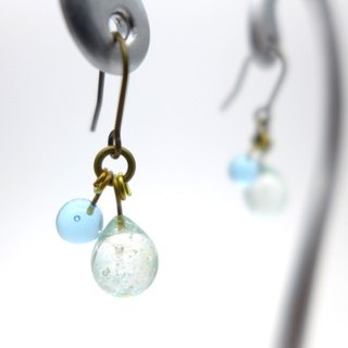 Tiny cute bubbles, Aqua drop of glass pierces, Pale blue