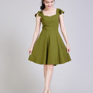 Olive Green Dress Party Dress Summer Dress Sundress Vintage Style Dress Ruffle
