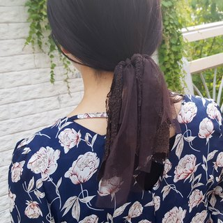 brown mesh  ponytail holder