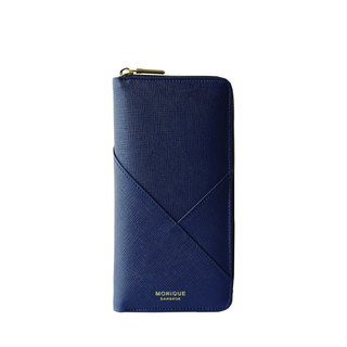 Ellie Zip Wallet in Navy Saffiano Leather