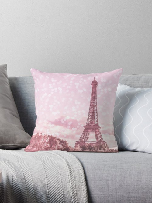 Pink Paris pillow cover, Paris cushion cover