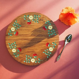 Strawberry Party Teak Plate (Pastel Yellow and Red)