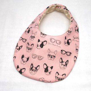 Japanese Handmade 4-layer-double gauze Baby Bib /French bulldog pink