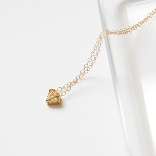 钻+钻 项链 (金) / Diamond shape charm with cubic Zirconia pd