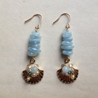 14 kgf aquamarine x vintage pearl bijou shell earrings / brass ear clip