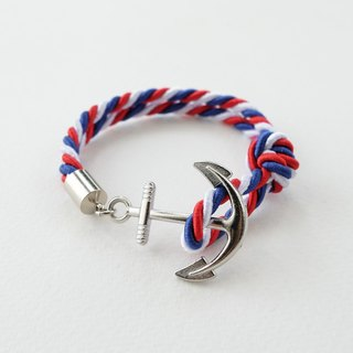 Anchor bracelet / Red white blue twisted rope