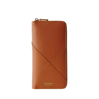 Ellie Zip Wallet in Tan Saffiano Leather