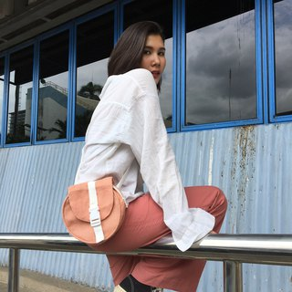 Peach pink belt bag