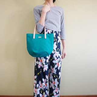 Turquoise Petite Canvas Tote Bag with Leather Strap for her - Weekend Casual Bag