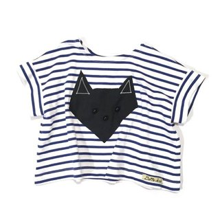 Horizontal stripe T-shirt origami design black cat