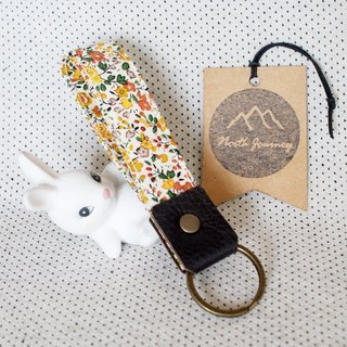 Field of Yellow Flowers ,Summer ,Personalized Fabric Fob Leather Keychain,Custom Keychain,Stamped Gift For Her