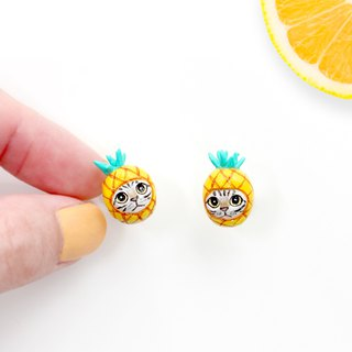 Pineapple Cat Earrings, Cat Stud Earrings, Pineapple Earrings, cat lover gifts