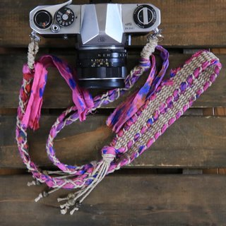 Tie Dye Dyed Surrey Ribbon hemp string hemp camera strap / double ring