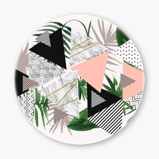 Snupped Ceramic Coaster - 陶瓷杯垫 - geometric patterns with plants and marble