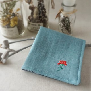 Hand embroidered gauze handkerchief carnation red(order-receiving)