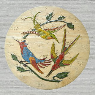 Wooden wall hanging decorative panel with hummingbirds