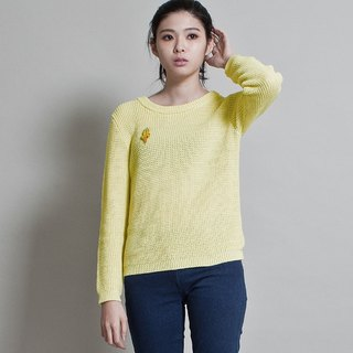 女圆领玉米目毛衣 SWEATER WITH HALF-CARDIGAN STITCH