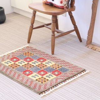 Hand-woven carpet rug Entrance Matt Light Beige Wool & Plant Dye 73 x 56 cm