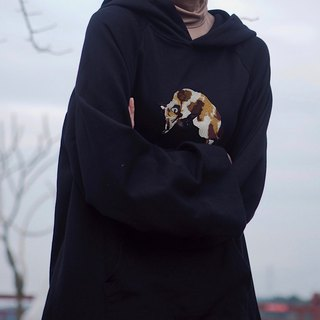 EMBROIDERY LAZY FOX OVERSIZED HOODIE