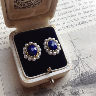 14 kgf high quality lapis lazuli AAA - × vintage pearl oval earrings OR painful petit collage ear clip ear needle / ear cover