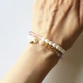 Light Czech beads and cotton pearl double concert bracelet 4