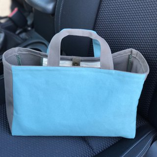 Canvas Tote bicolor ice blue  + gray