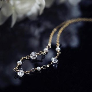 14KGF Highest class Herkimer Diamond & Pearl Anklet April Birthstone