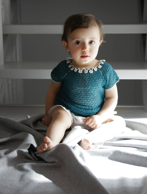 Organic merino wool baby dress. Flower girl dress for a wedding.