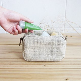 Cosmetic Bags Little Tan M Hand woven Hemp Natural Color