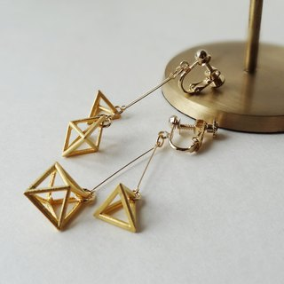 Turkish brass matte-gold stereo charm Earrings