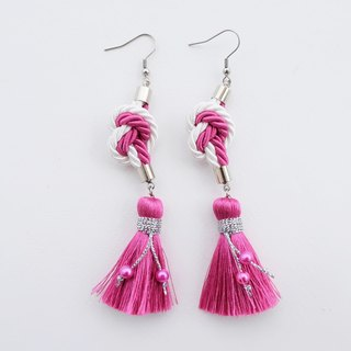 White & Pink heart knotted rope with tassel earrings