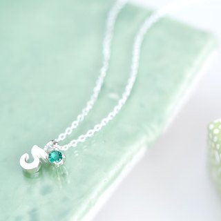 Numbers & May birthstone emerald necklace 925