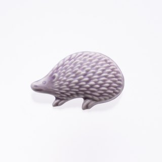 ceramics brooch hedgehog purple