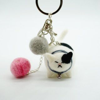 MoonMade 手工羊毛毡花斑猫钥匙圈 3D猫咪动物钥匙扣 生日礼物 Needle Felting Calico Cat Keychain Keyring Birthday Gift for Cat Lover