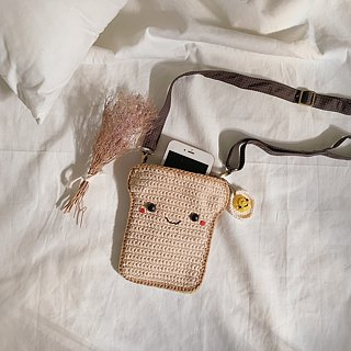 Crochet Coin Purse Bread + Fried Egg keychain/ the Bag/ Shoulder Bag.