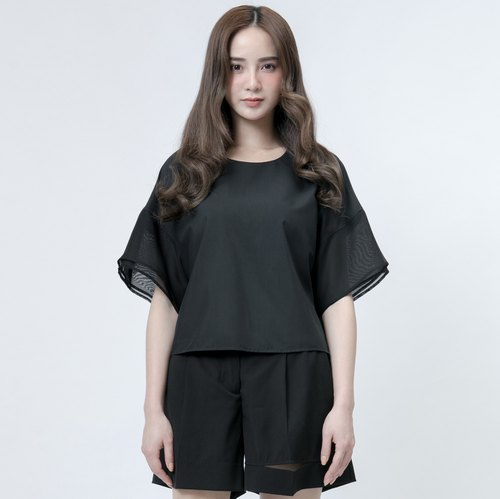 黑纱袖口上衣 Double Sheer Layer Sleeves Top