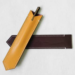 BILLIE Yellow&Brown Leather Cute Pen Case/ Pen Holder/ Apple Pen Soft Cover