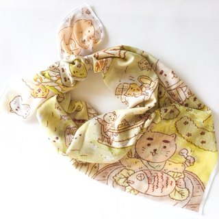 Happy cat village scarf.Voile cotton fabric scarf.Birthday gift.