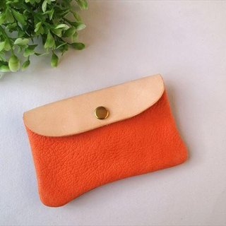 [Orange × tea] pig leather soft card case [MTO] Leather Pass Case