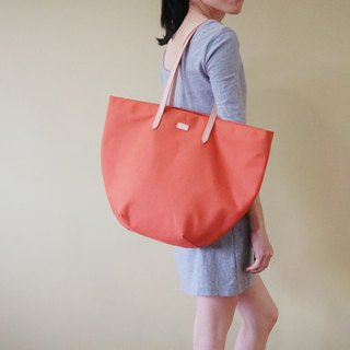 Terracotta Beach Tote Bag with Leather Strap - Casual Weekend Tote