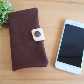 [Custom-made classic Brown] pig leather soft Sumahokesu [various models] leather cover [iphone6, xperia, galaxy] tea