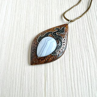 Wooden pendant with blue agate