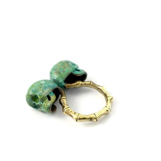 Zodiac Twins skull ring is for Gemini in Brass and Patina color ,Rocker jewelry ,Skull jewelry,Biker jewelry