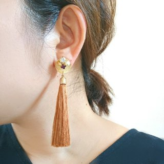 Tassel Bijou Earrings, Earrings (Camel)