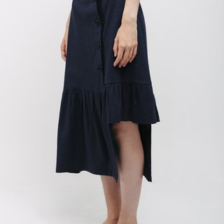 Dark Blue Linen Gathered Skirt